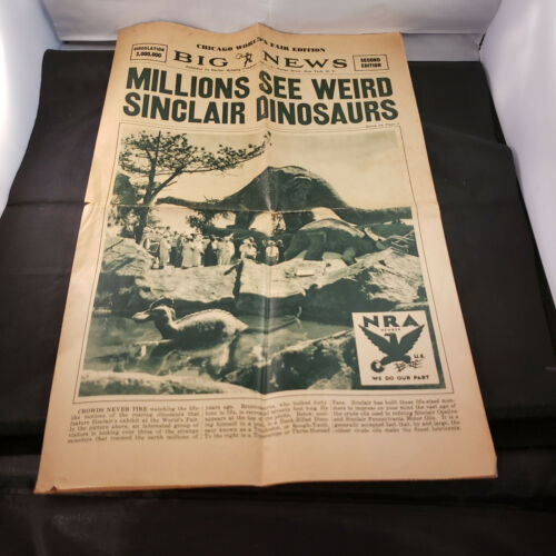 Fab Sinclair Oil Dinosaur Exhibit,Old Vintage Chicago Worlds Fair 1933