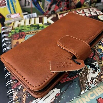 Genuine Real  Leather Tan Cognac Wallet Protective Case For iPhone 6