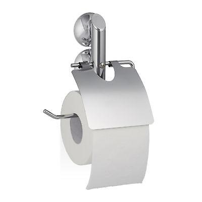 Toilettenpapierhalter ohne Bohren Saugnapf KNUTSCHI Klopapier Halterung silber