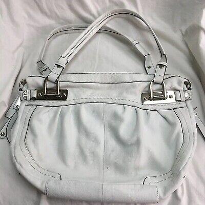 B Makowsky White Leather Multi Pocket Animal Print Lined Large Purse