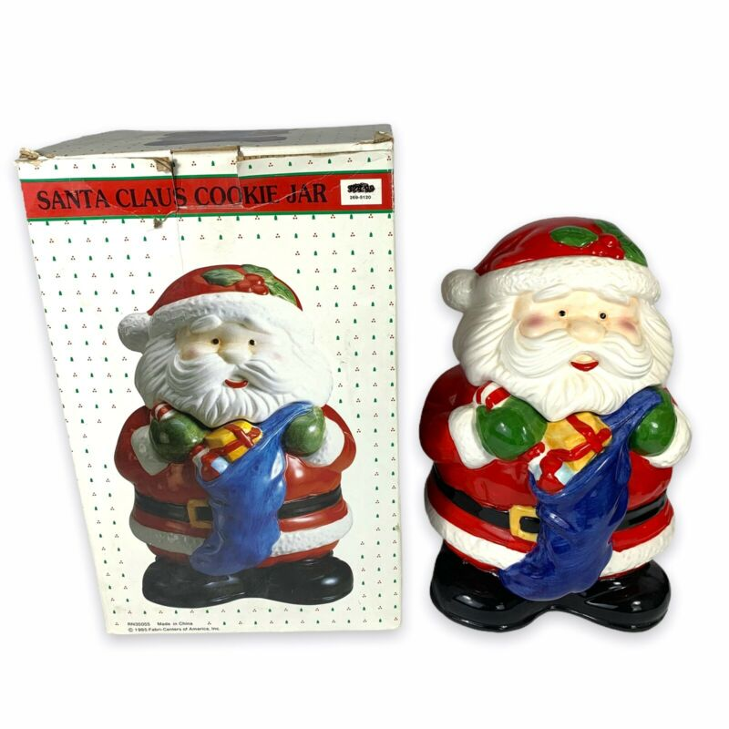 "Vintage Mr. Santa Claus Cookie Jar Ceramic 12"" 1995 Christmas Decoration Holiday"