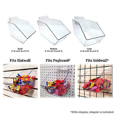 Slatwall Gridwall Or Pegboard Acrylic Bin 6 W X 5.5 H Small Medium Or Large