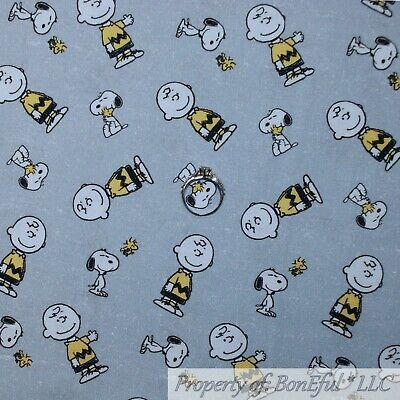 BonEful Fabric Cotton Quilt Gray Charlie Brown Snoopy Yellow Woodstock VTG SCRAP