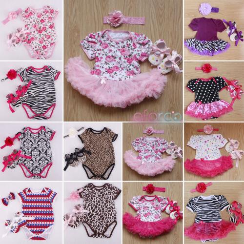 3pcs Newborn Baby Girl Jumpsuit Romper Dress Headband Shoes