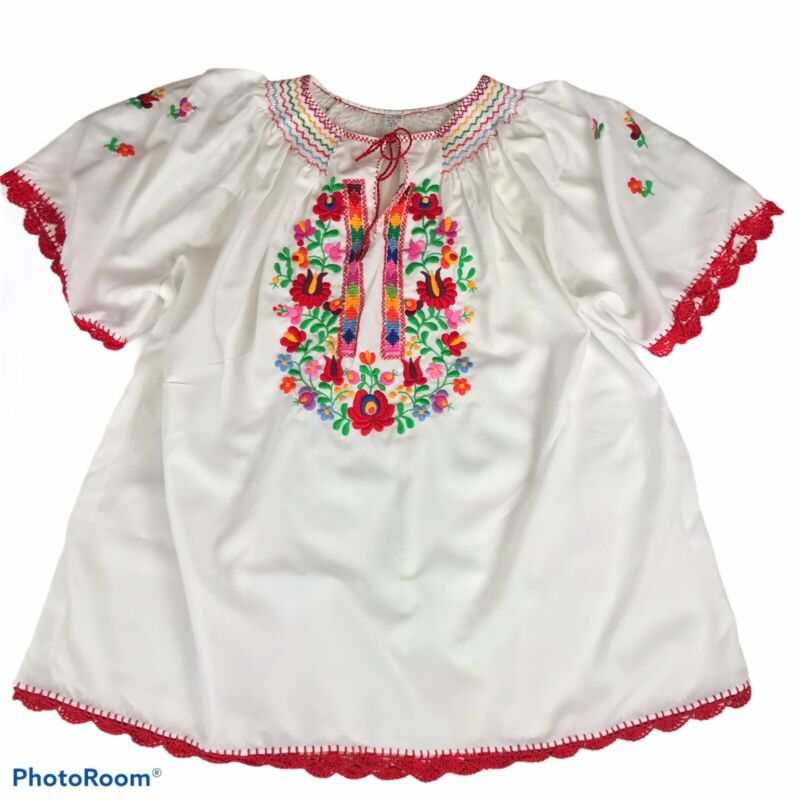 Hungarian Embroidered Floral Blouse Folk Top Size XL