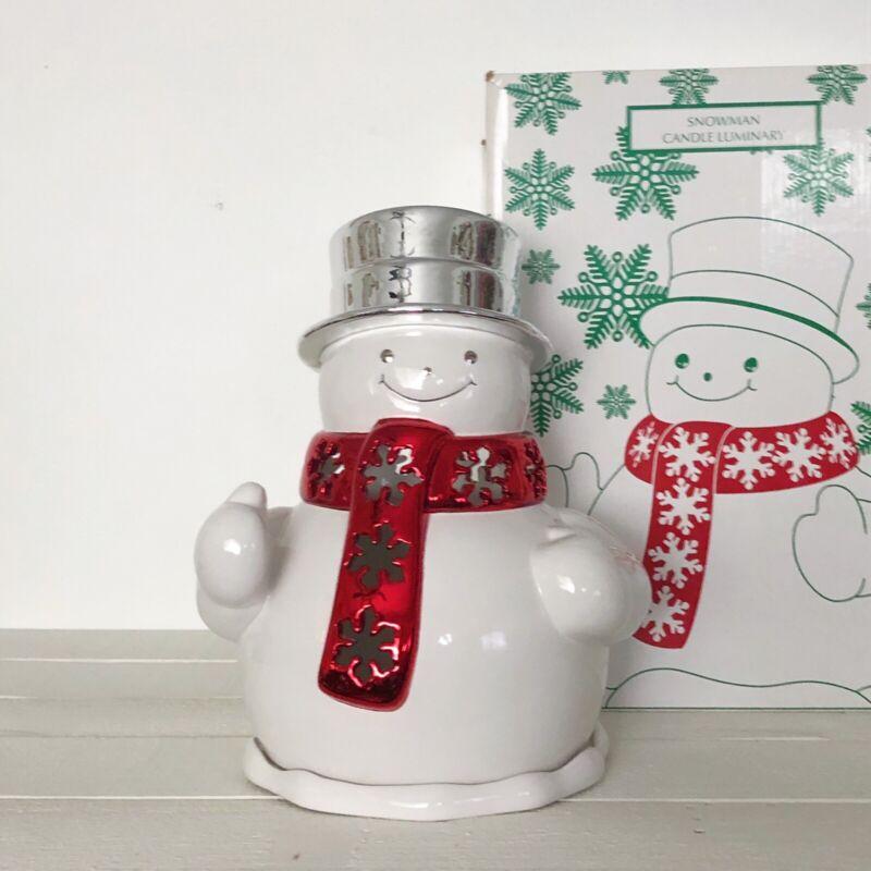 2010 Holiday Snowman Large Candle Luminary Holder Harry Slatkin & Co Ceramic