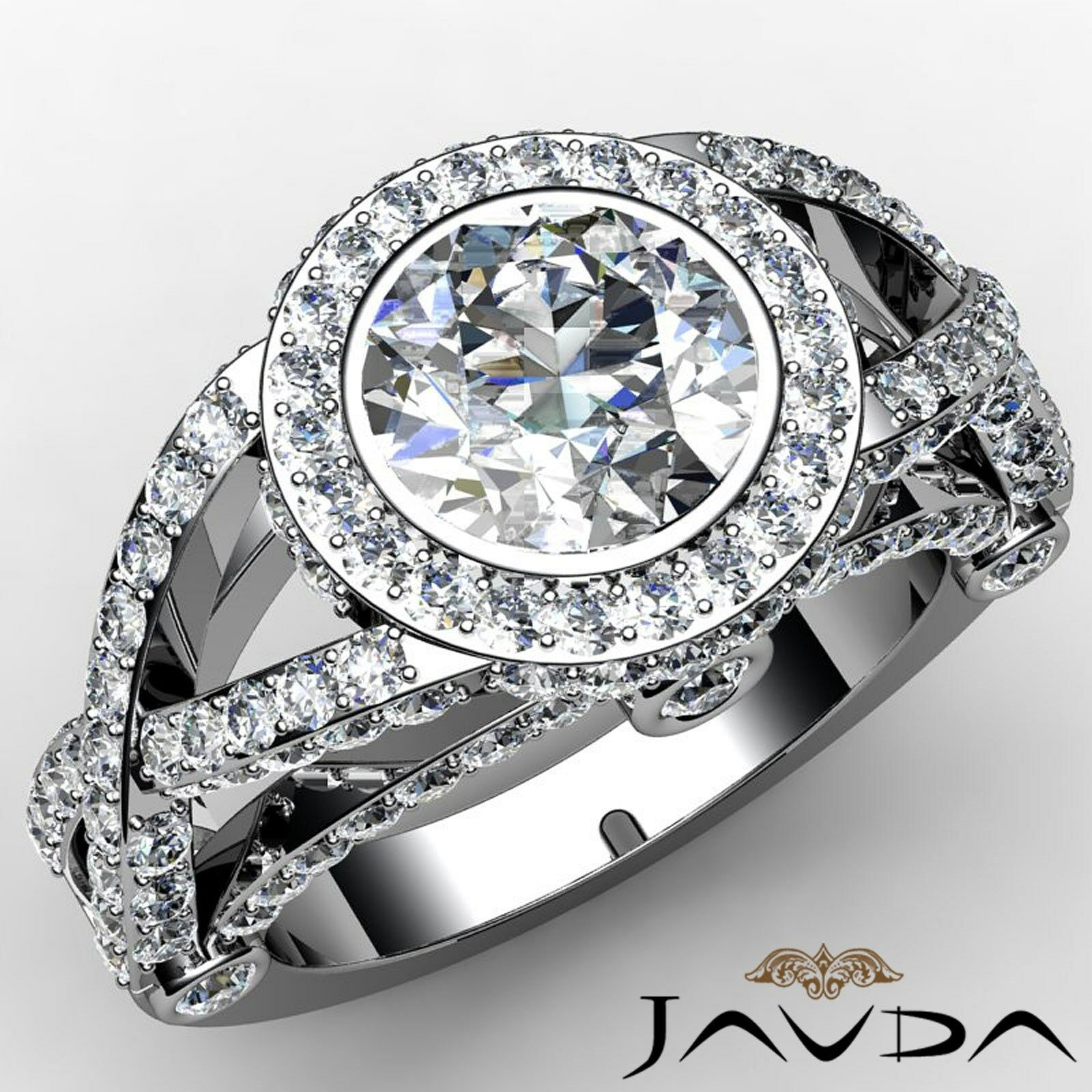 Cross Shank Halo Pave Bezel Set Round Diamond Engagement Ring GIA I SI1 2.97Ct