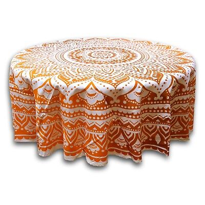 Tie Dye Floral Tablecloth Round 69 Inch Diameter Handcrafted 100% Cotton Orange (Tie Dye Tablecloth)