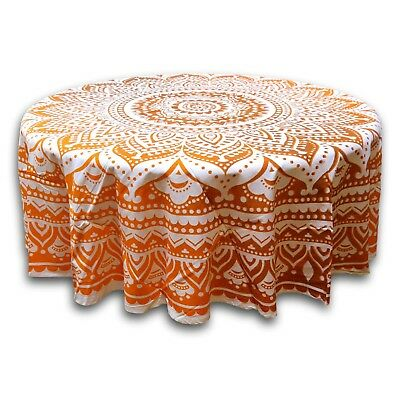 Tie Dye Floral Tablecloth Round 69 Inch Diameter Handcrafted 100% Cotton - Tie Dye Tablecloth