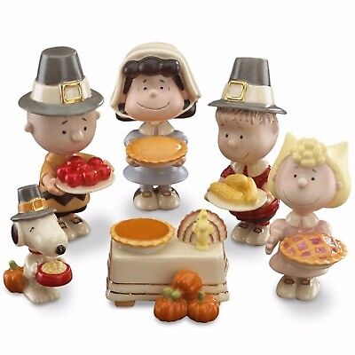 Thanksgiving Peanuts (Lenox Peanuts Thanksgiving Pilgrim Figurines Dinner Snoopy Charlie Brown Pie)