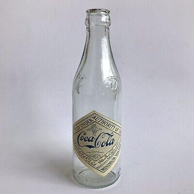 VTG 1999 COCA-COLA ATLANTA GA Straight-Side Empty Glass Bottle White Sticker Tag