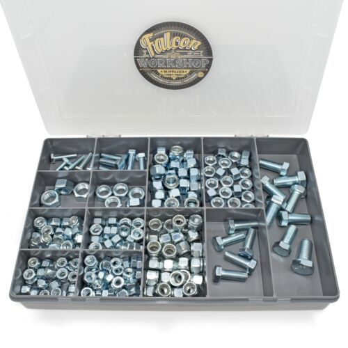 231 ASSORTED PIECE UNF FINE THREAD ZINC IMPERIAL NYLOCS, NUTS & BOLTS SET KIT