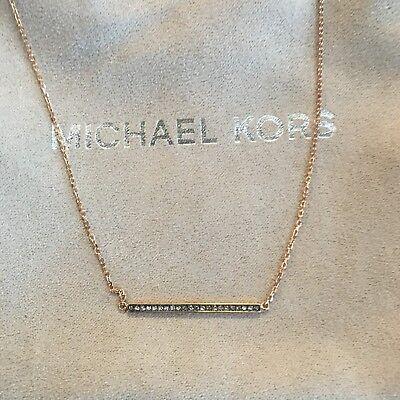 MICHAEL KORS MKJ4369791 Brilliance Motif Rose Gold Tone Pave Necklace NWT $115