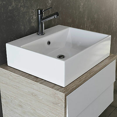 VILSTEIN Keramik Waschbecken Hängewaschbecken Aufsatzwaschbecken weiß ca. 50 cm