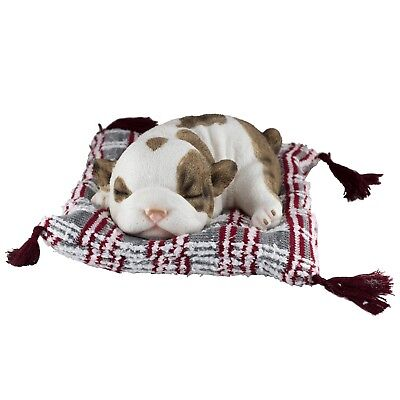Bulldog Puppy Sleeping On Woven Bed Dog Figurine 7.5