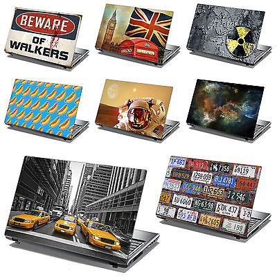 """14"""" Laptop Skin Cover Sticker Decal Leather Effect -NEW DESIGNS- Made in the UK"""