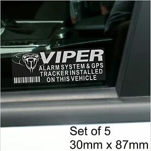 5 x viper gps tracking device alarm security stickers car tracker warning signs ebay. Black Bedroom Furniture Sets. Home Design Ideas