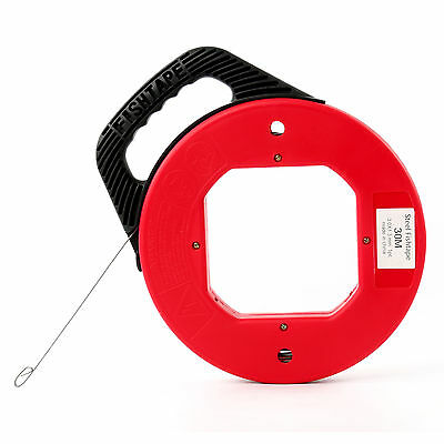 100ft Fish Tape Wire Cable Puller Electricians Reel Tape -us Stock