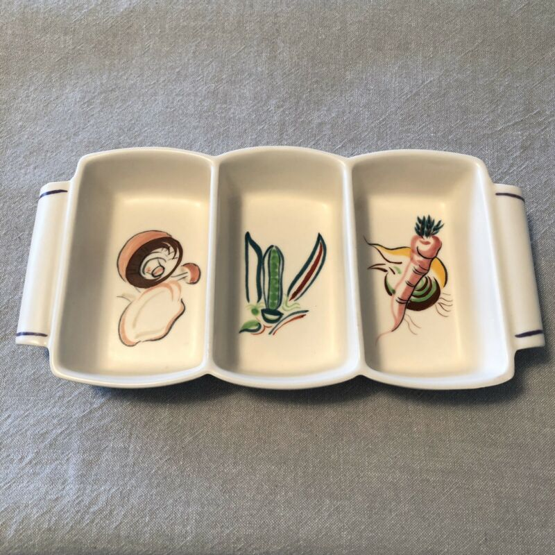 Vintage Poole England Pottery Divided Serving Dish Tray Vegetables Designs MCM
