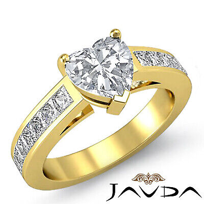 4 Prong Channel Setting Womens Heart Cut Diamond Engagement Ring GIA F VS2 1.5Ct 5
