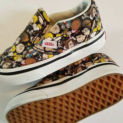 Vans Off The Wall Toddler Boys Peanuts Charlie Brown Black Shoes size 5 C Snoopy