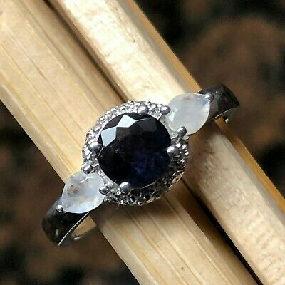 Natural 1ct Iolite, Moonstone, White Topaz 925 Sterling Silver Engagement Ring 7 Iolite Moonstone Ring