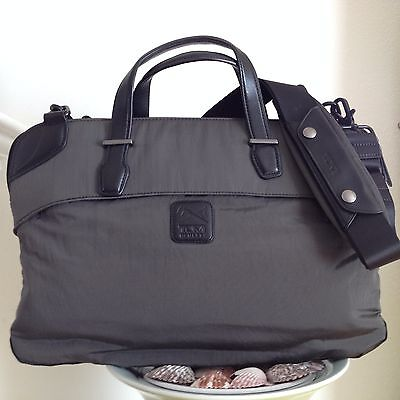 TUMI Virtue Leather Trim Victory Slim Laptop Business Briefcase Attache Bag Gray