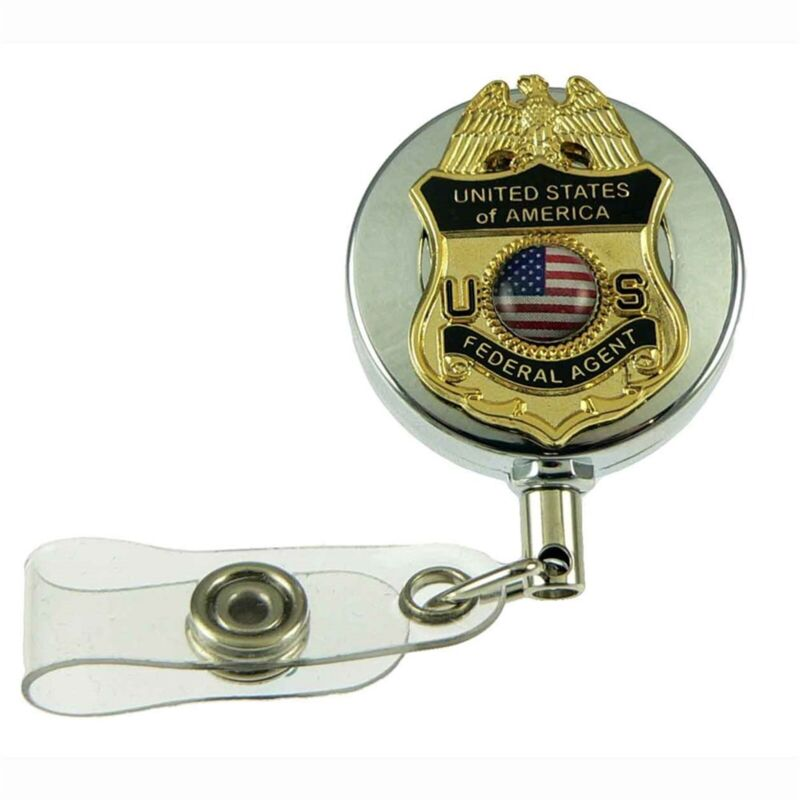US Federal Agent Badge Reel Retractable ID Holder Security Card Lanyard Chrome