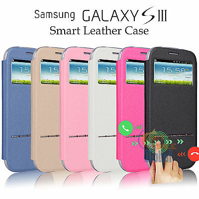 Flip Leather View Window Case Stand Cover Skin For Samsung Galaxy S3 Iii I9300
