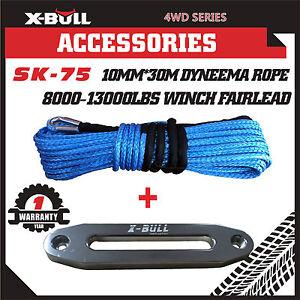 X-BULL 10MM x 30M Dyneema SK75 Winch Rope Synthetic Aluminium Fairlead Recovery