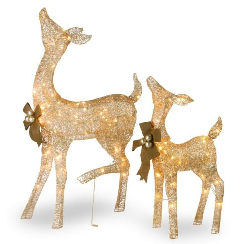 Christmas Lighted Reindeer Set of 2 Outdoor Decorations Home Holiday Decor