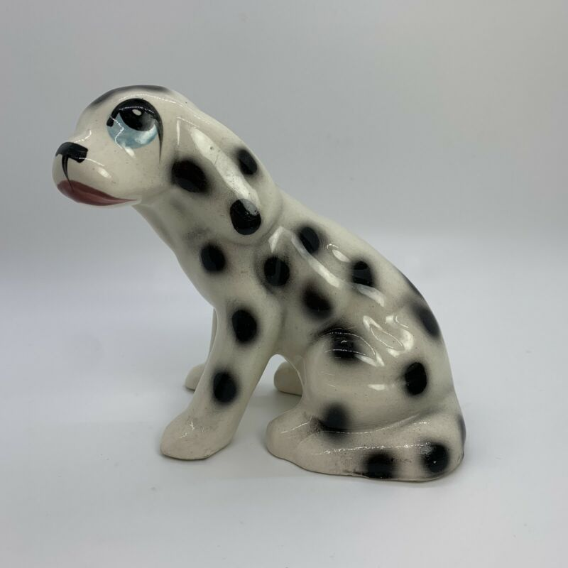 "Vintage Ceramic Spotted Dog Dalmation Figurine Blue Eyed 5.5""x4.5"""
