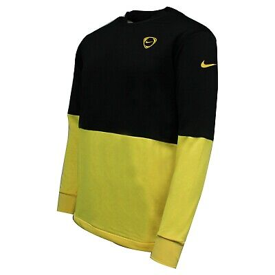 Nike Long Sleeve Mens Football Training Top T-Shirt Black Yellow 338783 017 P2C