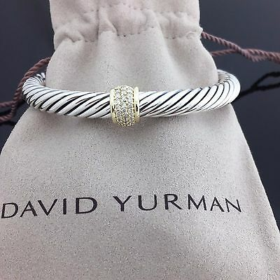 David Yurman Sterling Silver 925 & 18k Yellow Gold Pave Diamond Cable Bracelet O