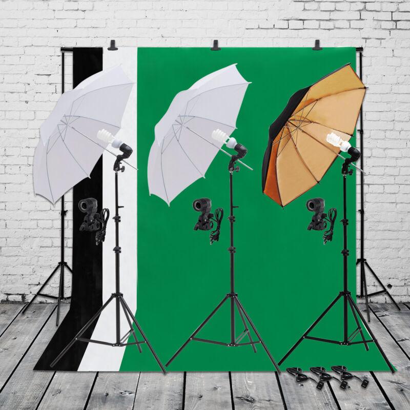 Lighting Kit Photo Photography Umbrella Studio Light Bulb Muslin Backdrop Stand