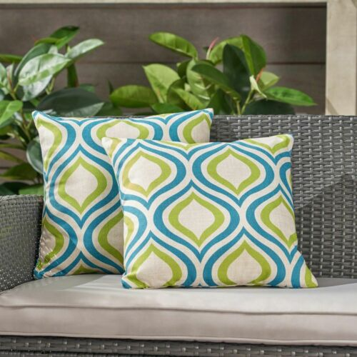 Larissa Outdoor 18-inch Water Resistant Square Pillows, Blue and Green Home & Garden