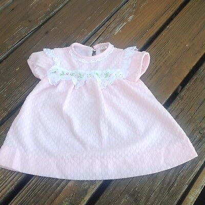 Vintage Carter's Floral Lace Trim Pink Baby Girl Dress 24 Months 27-29 Lbs USA