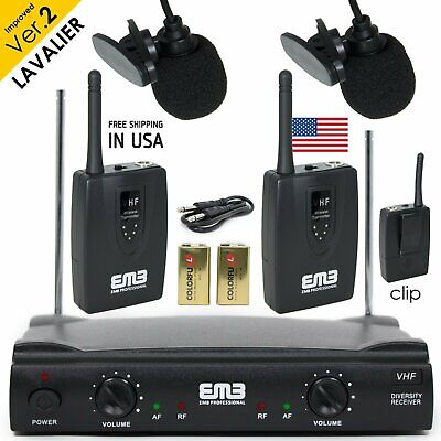 Professional Wireless Microphone System Dual Lavalier 2 x Mic Cordless -