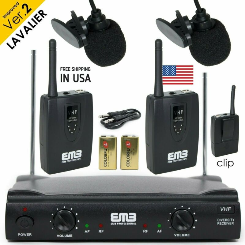 Professional Wireless Microphone System Dual Lavalier 2 x Mic Cordless Receiver