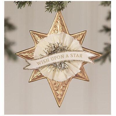 "3.5"" Bethany Lowe Wish Upon A Star Gold Retro Vntg Christmas Ornament Decor"
