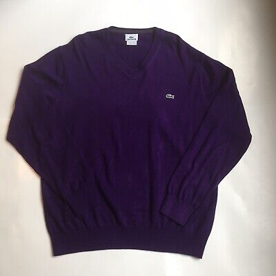 LACOSTE Men's Sweater V-Neck Pullover Cotton Long Sleeve Purple Size 6
