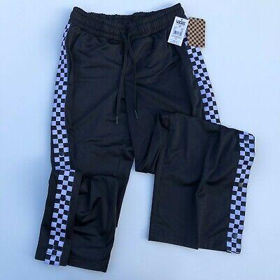 Vans Sweatpants Women's XS S Black White Checkered Track Pants Snap -