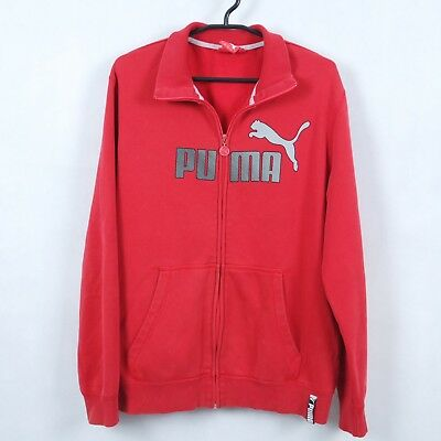 PUMA Vintage Mens Red Full Zip Big Logo Retro Sweatshirt Hoodie SIZE Large Retro Full Zip Hoodie