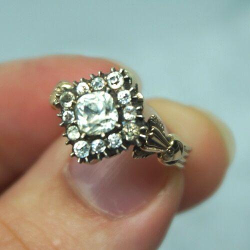 STUNNING Georgian Vintage 14k Gold Silver Diamond Paste Halo Cupids Arrow Ring