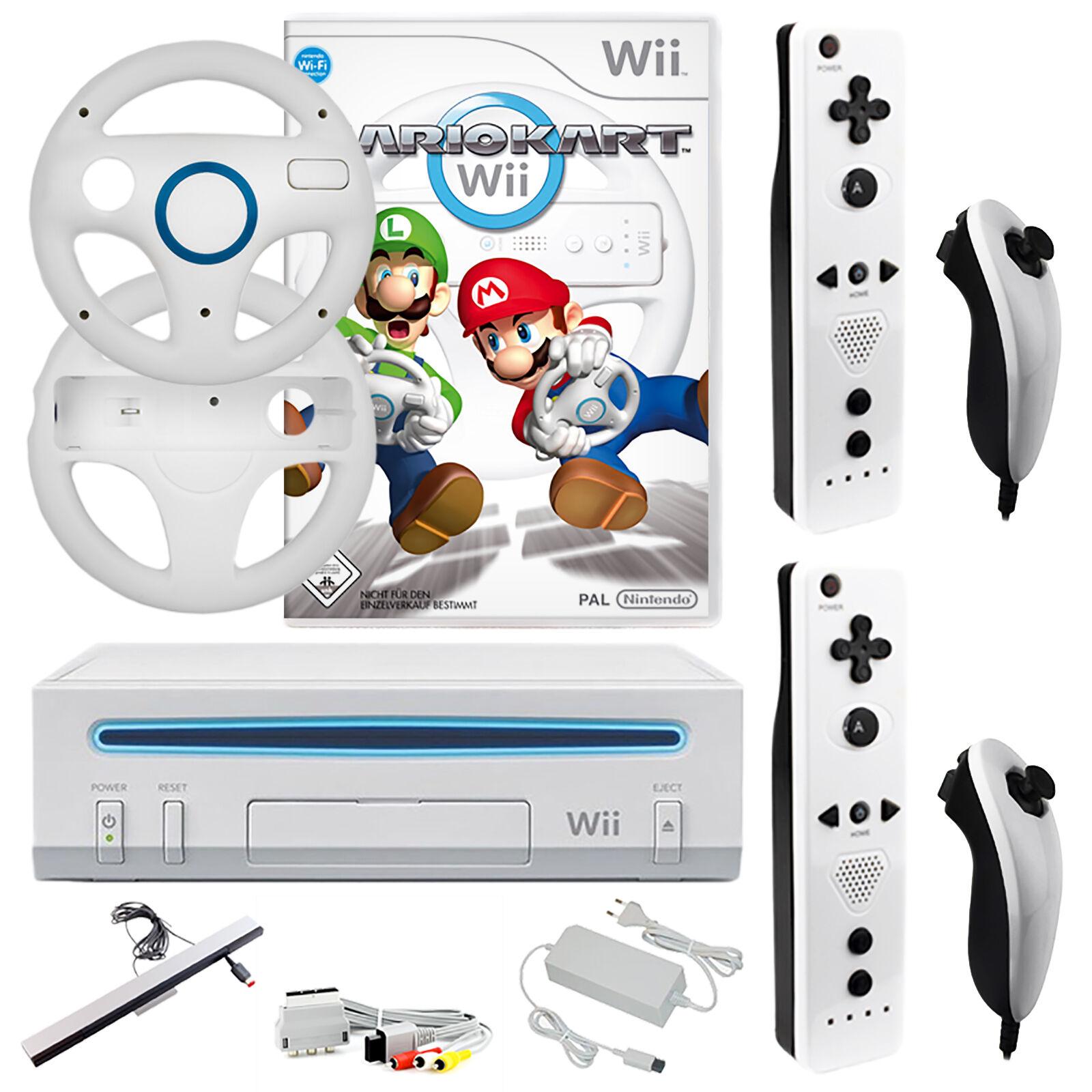 Nintendo Wii Konsole Mario Kart 2x Remote 2x Nunchuck 2x Lenkräder Weiß NEU