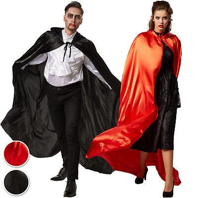 Dracula Cape Umhang Damen Herren Kostüm Gothic Vampir Karneval Fasching Kapuze
