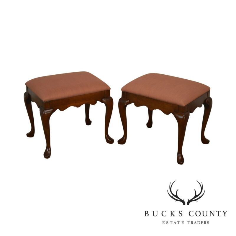 Pennsylvania House Solid Cherry Pair Queen Anne Stools or Benches
