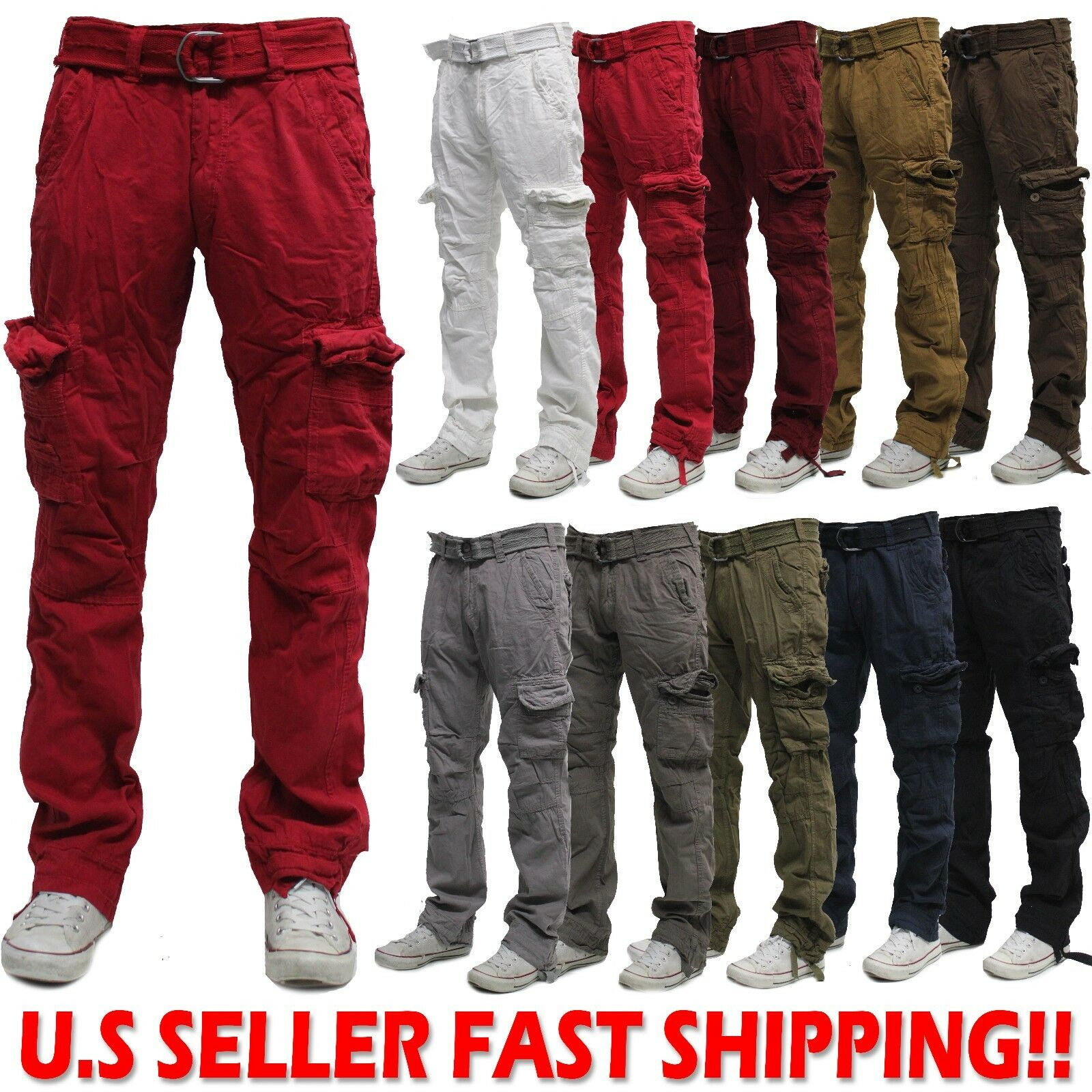 Military Men's Cotton Cargo Pants Combat Camouflage Solid Ar