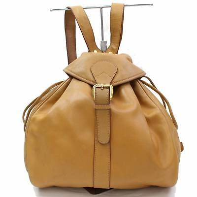 Authentic Gucci Back Pack  Light Brown Leather 255069