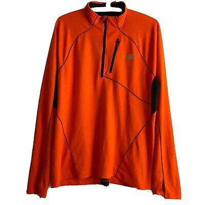 The North Face Mens Large Impulse Active 1/4 Zip FlashDry Shirt Orange Thumbhole